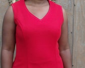 Vintage Red Sleeveless 70's MOD Shift Dress
