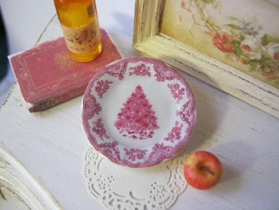 Pink Christmas Tree Dollhouse Plate