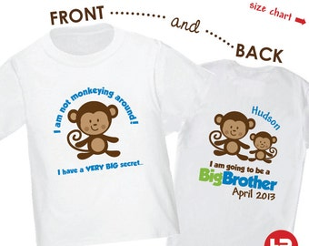 Monkey Big Brother Shirt - I'm Going To Be A Big Brother Shirt - Surprise Pregnancy Announcement Shirt
