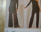 DKNY Donna Karan VOGUE 2064 Wrap asymmetrical top Wide Leg Pants Sewing Pattern UNCUT off shoulder  Plus Size