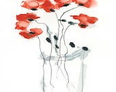 Red Poppy Watercolor Painting Original Abstract Flowers 12x16 A3 Grey Minimalist Bohemian whimsical dreamy