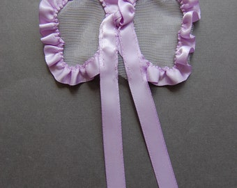 Ribbon & Tulle Bow - Lilac/Nude