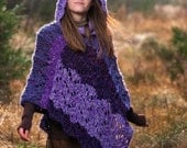 Handmade Purple Elven Poncho with Hood - EnchantedTreeWear