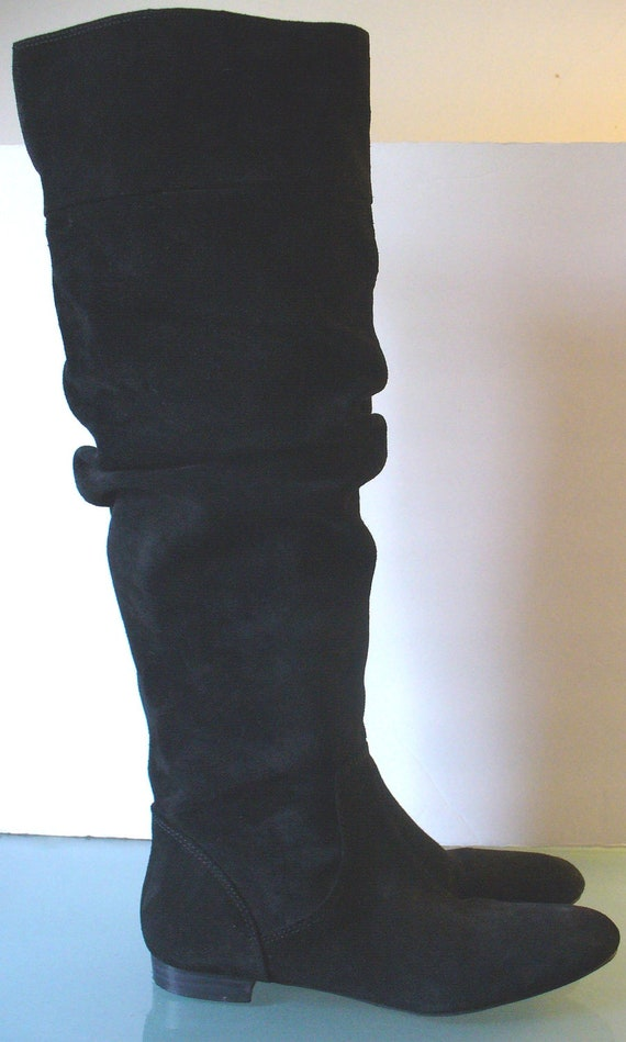 banana republic black suede pirate boots size by