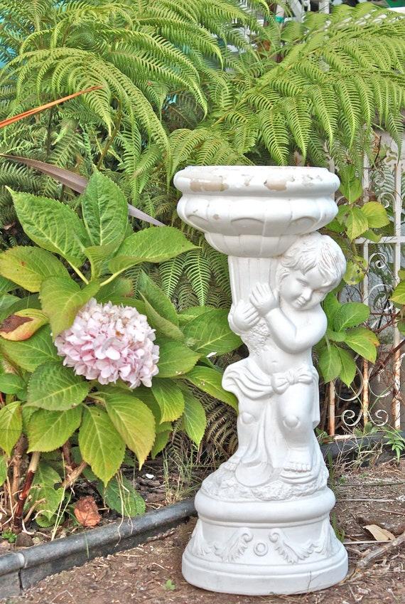 RESERVED FOR MELISSA - Large Cherub Garden Statue Planter or Vase - Shabby White - Chalkware