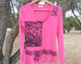 SALE She Still Sings Handcarved Original Print On Clothing