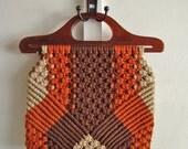 vintage macrame handbag in brown, rust, and beige