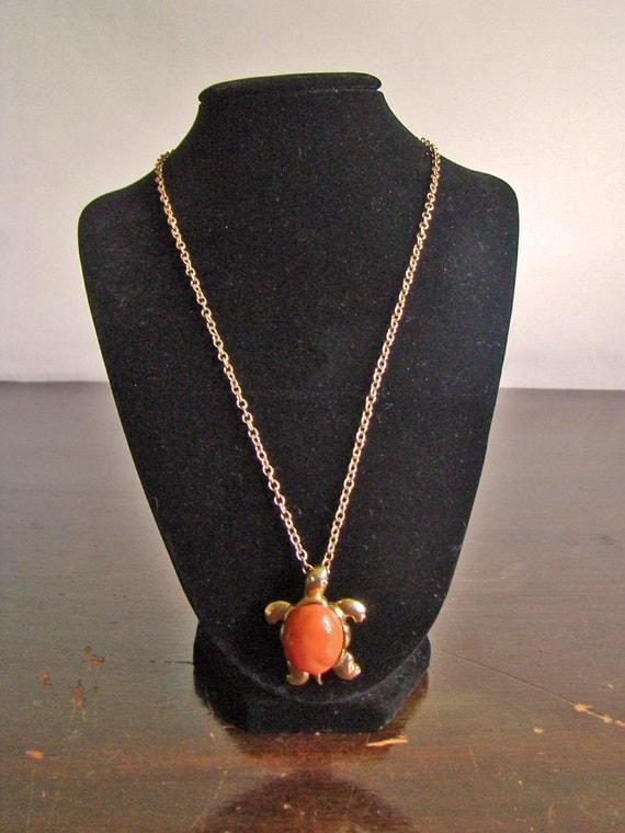30% off SALE--vintage KJL by Avon faux coral cabochon turtle pendant necklace