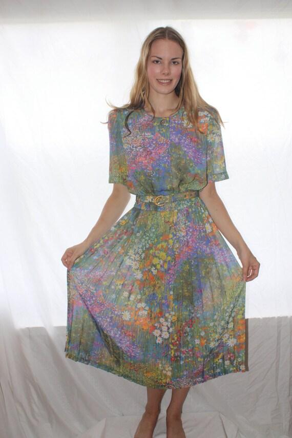 Vintage 80s Floral Dress/ Size 10/ Pleated