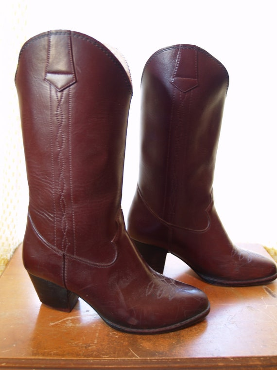 1970s Rubber Shearling-Lined Cowboy Boots - Rubber Cowgirl Wellies - Size 6 Women's US