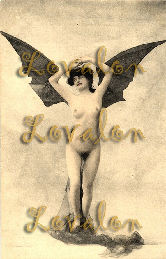 MATURE... Victorian Batgirl... Instant Digital Download... 1900's Vintage Nude Photo Image by Lovalon