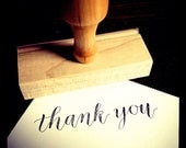THANK YOU STAMP - Calligraphy Rubber Stamp - Wooden Handle