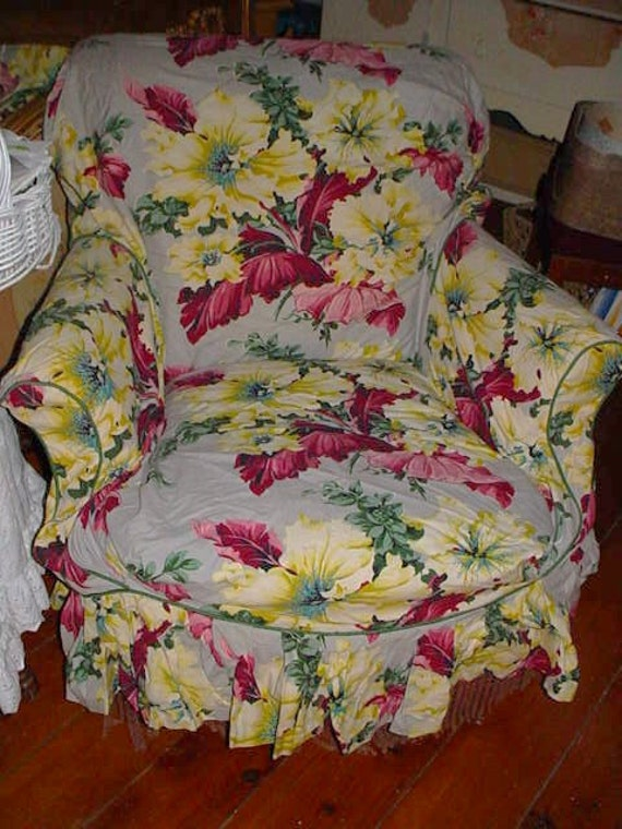 1940s Vintage Fabric Slipcover Chair Cover Barkcloth Era Bold