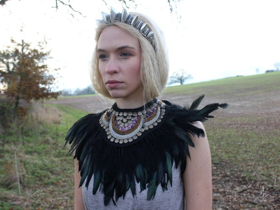 Feather Beaded Neck Piece, tribal bib, feather neckwear