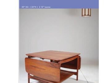 Solid Teak Drop Leaf Coffee Table by Peter Hvidt for John Stuart