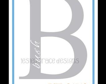 Typography, Family Initial Monogram, digital print, 11x14