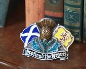 Scotland the Brave Glazed Pewter Belt Buckle