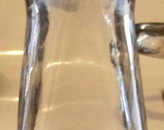 Vintage Clear Glass Bottle / Vase in a Round and Square Shape with a Retro Look
