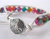 Mother of Pearl Bead Leather Wrap Bracelet - Multicolor - Neon - Gifts Under 20