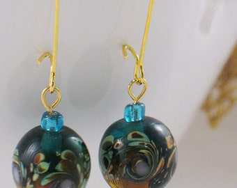 Teal and Amber Lampwork Bead Earrings with Swirled Design - Gifts Under 15