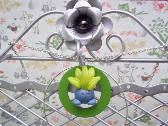 Reserved - Kawaii Oddish Pokemon Jewelry Necklace