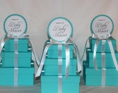 Small Centerpiece - Light Teal and White Three Tier Square Centerpiece - Designer Inspired - Baby Shower, Bridal Shower, Birthday Party