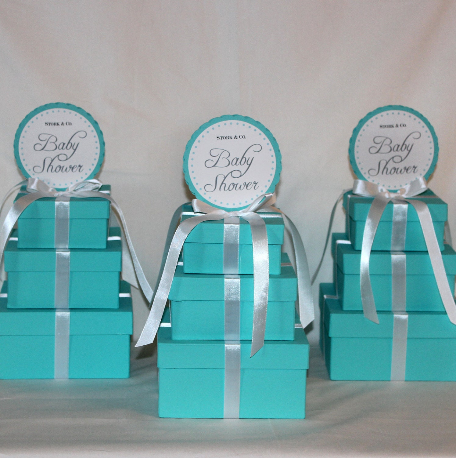 Small Centerpiece Light Teal and White Three Tier by ...