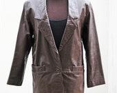 Vintage 70s Brown Leather Long Blazer // Bagatelle Sport // size S-M