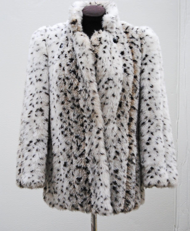 70s Vintage Snow Leopard Faux Fur Coat // By