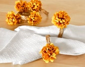 Autumn Honey Gold Napkin Rings Fall Table Settings Yellow Flowers Vintage Inspired Golden Lace for Weddings and Other Parties. Gift Set of 6