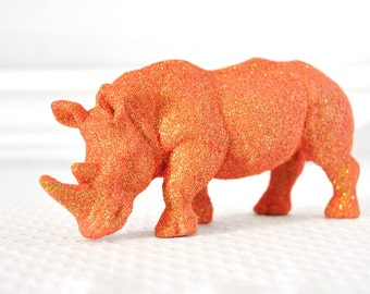 Rhinoceros Safari Baby Shower Decorations in Saffron Orange Glitter for Boy or Girl Baby Nursery, Birthdays, or Wedding Table Centerpiece