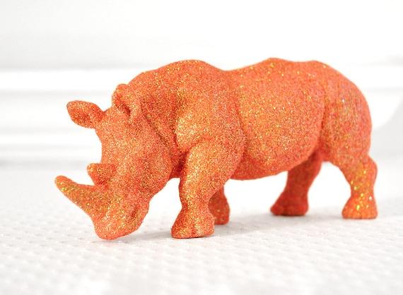 Rhinoceros Safari Baby Shower Decorations in Saffron Orange Glitter for Boy or Girl Baby Nursery, Birthdays, or Wedding Table Centerpiece