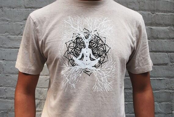 Mens Yoga Shirt - Hemp and Organic Cotton Screen Printed t-shirt - Lotus Flower of Life / Tree of Life design , Small