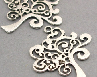 Tree Charms Large Antique Silver Antique Bronze 4pcs pendant beads 37X41mm CM0323S CM0323B