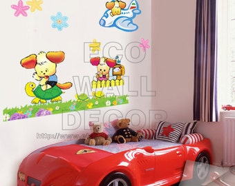 PEEL and STICK Kids Nursery Removable Vinyl Wall Sticker Mural Decal Art - Puppy, Turtle and Airplane