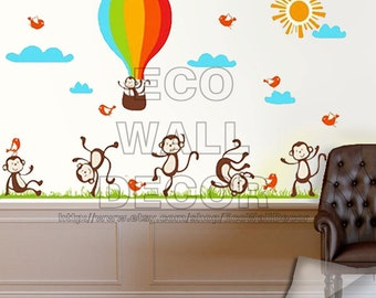 PEEL and STICK Removable Vinyl Wall Sticker Mural Decal Art - Fun Monkey Family and Hot Air Balloon Decal