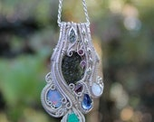 Moldavite, Emerald, Opal, Silver, Everything Heady Handmade Fall Fashion Wire Wrapped Pendant