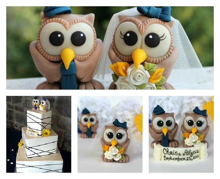 Custom Wedding Cake Topper Brown Owl Cake Topper By PerlillaPets