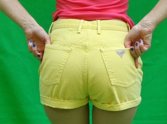 Vintage High Waisted Denim Shorts 80's Guess Jeans Bright Lemon Banana Yellow Size 31 waist