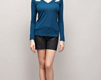Blue Sweater with Cut Detail-V Neck Sweater-Wool Sweater-Birthday Gift-Mothers Day Gift-Present for Her-Free Shipping-Mothers Day