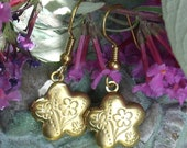 Vintage Brass Flower Locket Earrings Etched with Flowers and Butterflies Dangle Earrings Secret Garden