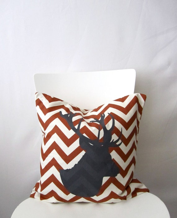 18 inch throw pillow cover Deer antler Stag by CushionCutDecor