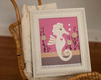 Ocean Nursery art, Seahorse nursery, fish Bathroom decor, baby girl art, beach nursery print, 8x10 print