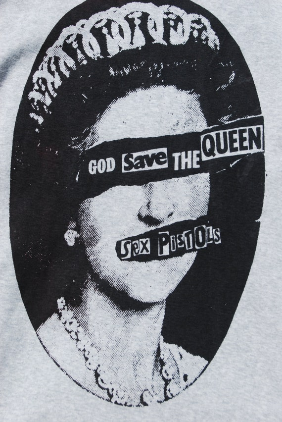 God Save The Queen- 8y to10y Childrens Punk Top-  SEX PISTOLS - Screenprinted Grey Longsleeve Top  Sweater - XXS or XSmall