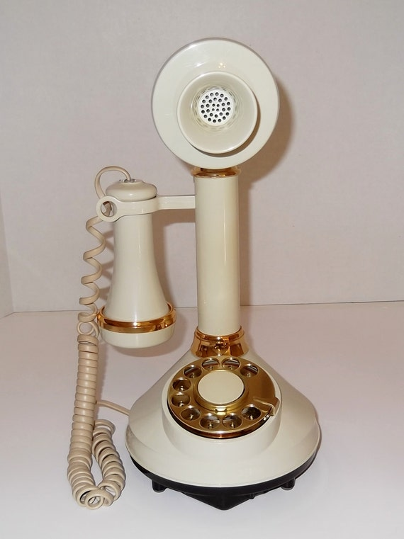Vintage Candlestick Rotary Dial Phone 1973 / Cottage Chic