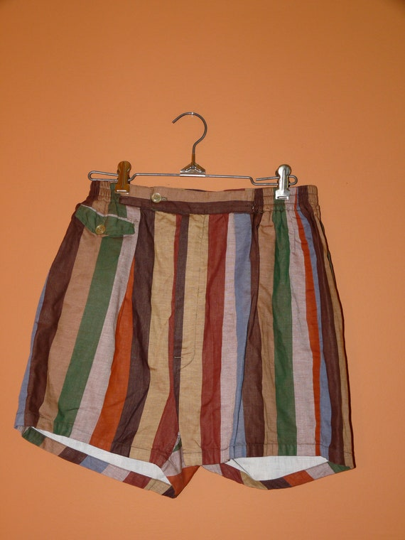 1950s Striped Mens Swim Trunks Size Small / Medium