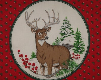 Christmas Pillow Top Fabric Winter Deer Buck Vintage 1970's Calico Border Cotton Screen Print