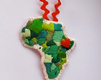 Embroidered Africa Christmas ornament in greens with a red heart Made to Order