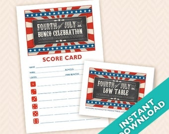 Fourth of July Printable Bunco Scorecard and Table Card Set