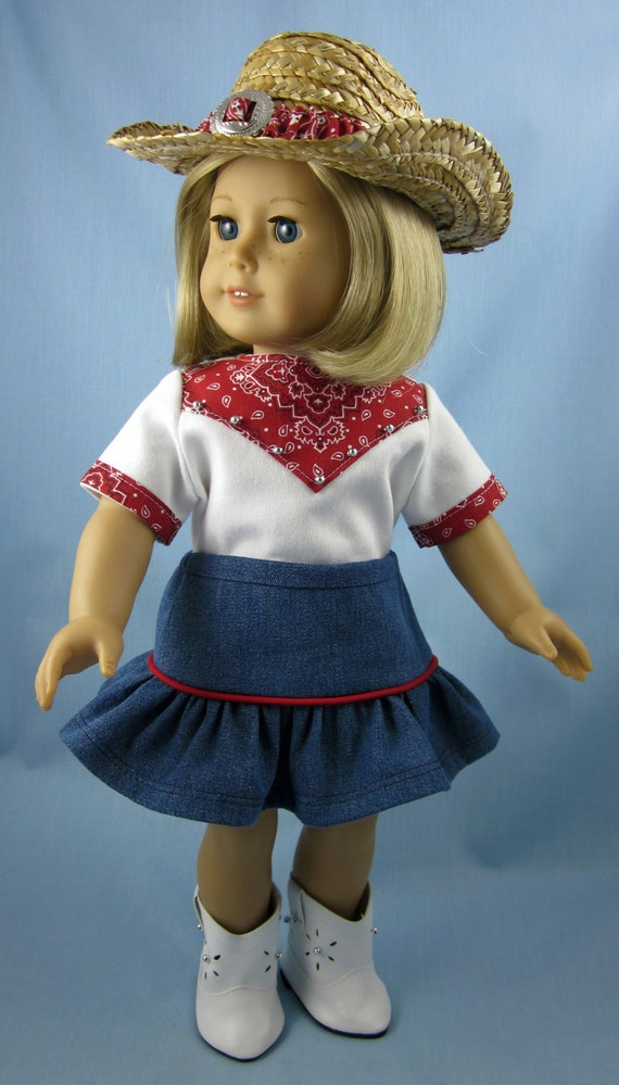 American Girl Doll Clothes Cowgirl Outfit In Red Five